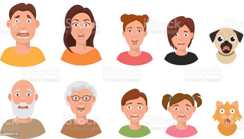 People facial emotions afraid fearful scared windy emotions human faces different expressions vector illustration in flat style vector art illustration