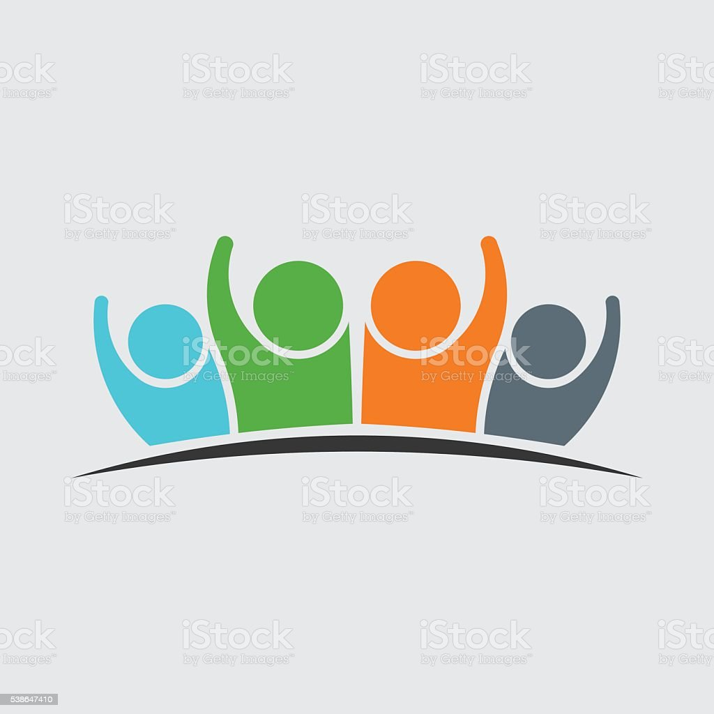 People Family Group of Four Persons Logo vector art illustration