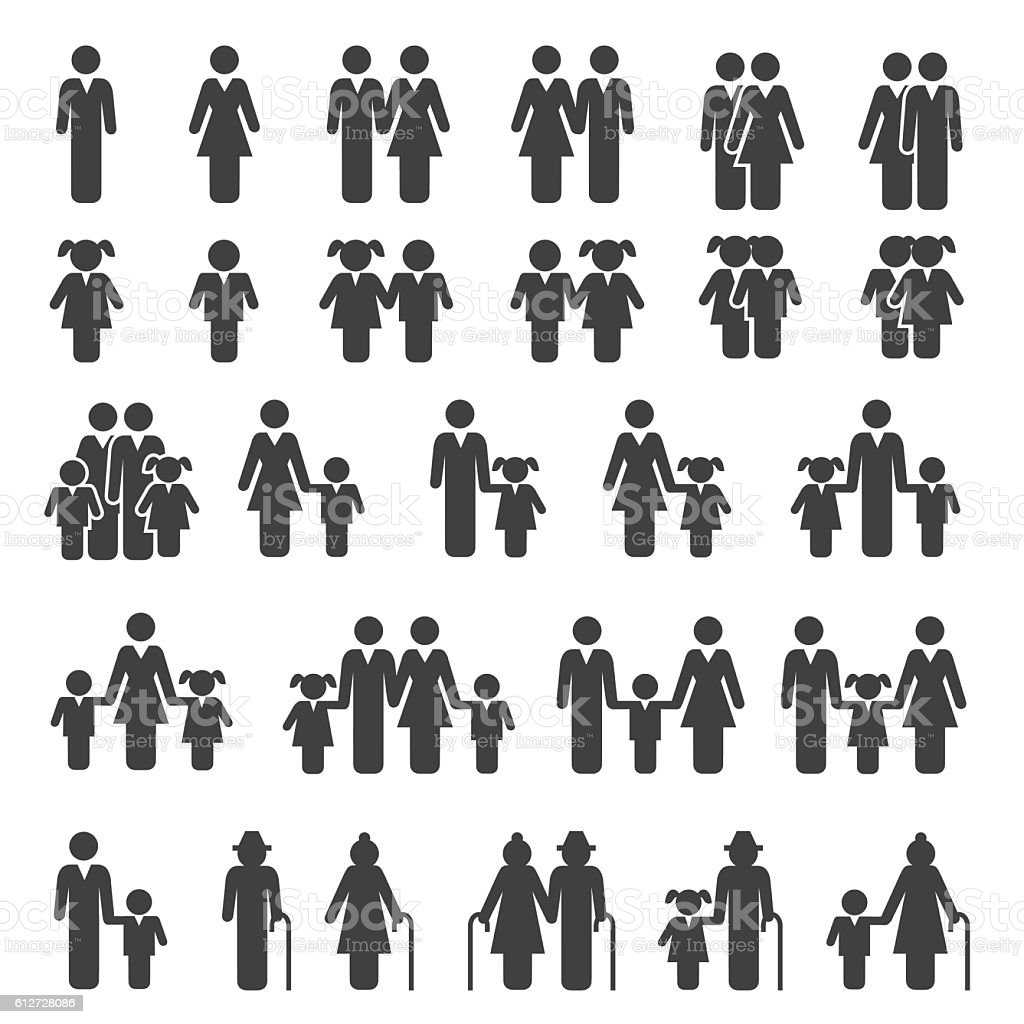 People Family Icons Set - Illustration vectorielle