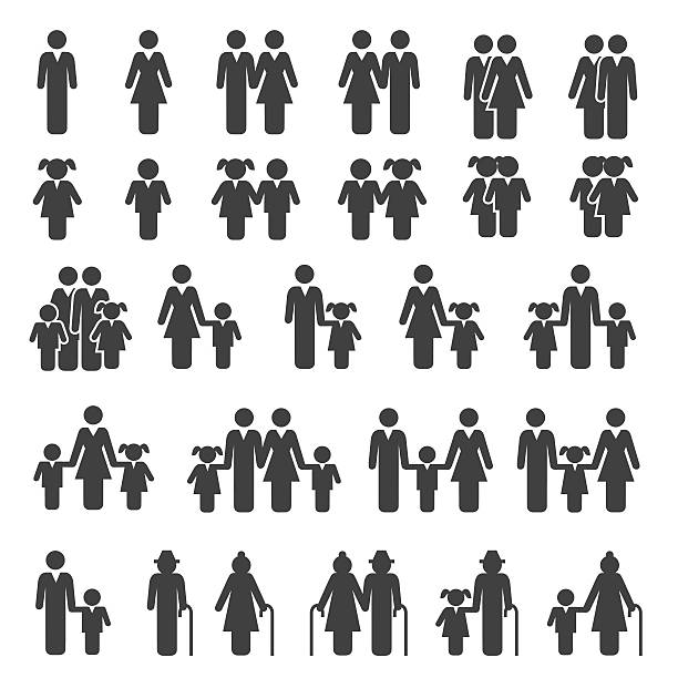 People Family Icons Set vector art illustration