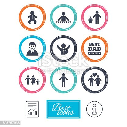 People, family icons. Swimming pool, love and children signs. Best dad, father and mother symbols. Report document, information icons. Vector