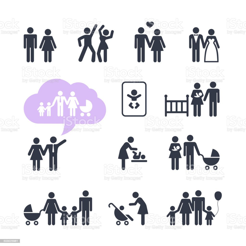 People Family Pictogram. Web icon set vector art illustration