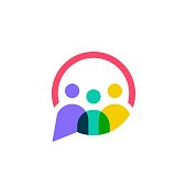 people family together human unity chat bubble vector icon