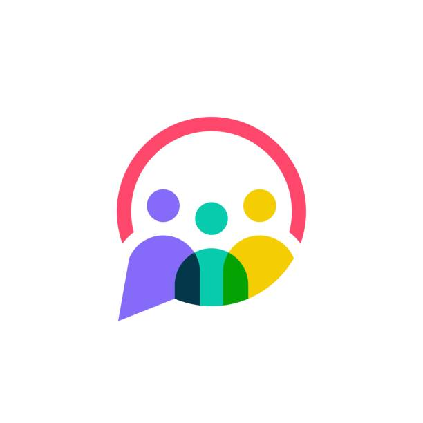 people family together human unity chat bubble vector icon people family together human unity chat bubble vector icon logo stock illustrations