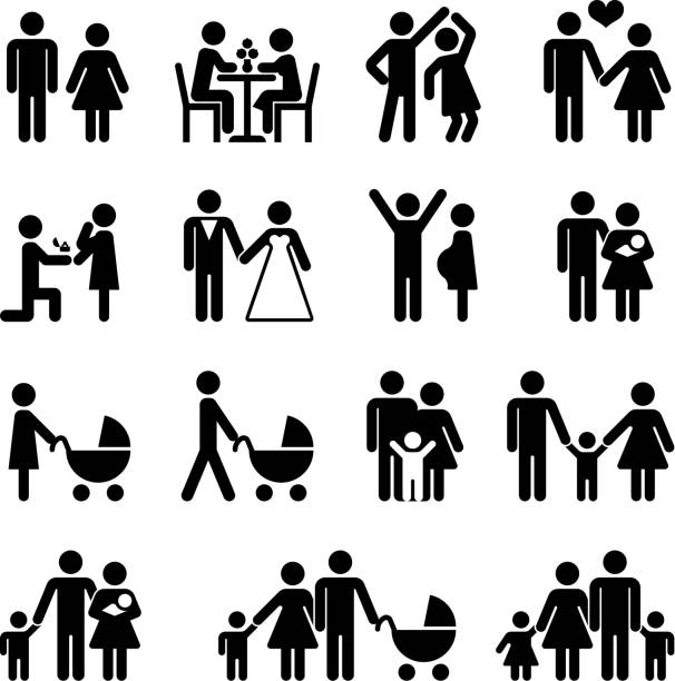 ilustraciones, imágenes clip art, dibujos animados e iconos de stock de people family vector icon set. love and life - casados