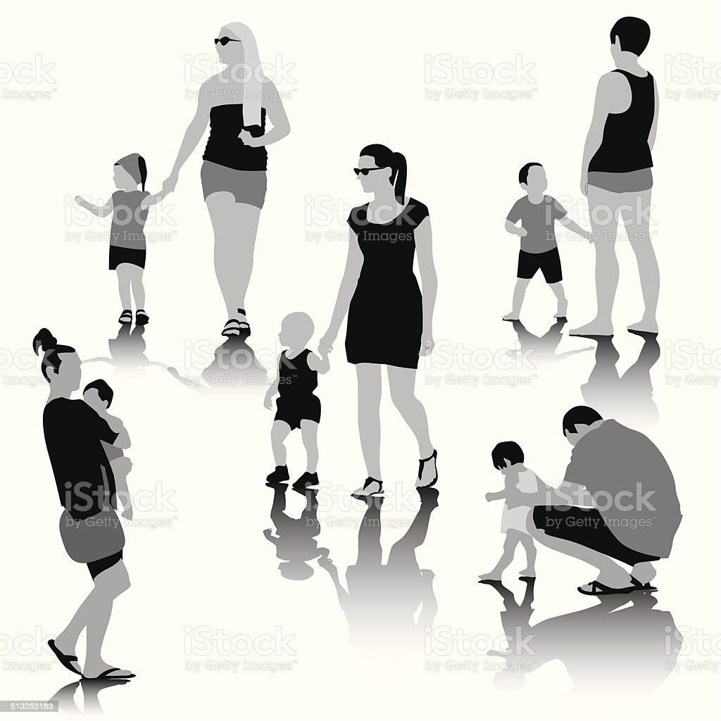 People Family vector art illustration