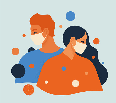 People feel anxiety and fear wearing medical masks to prevent disease, flu, air pollution, contaminated air, world pollution. Vector illustration flat style.