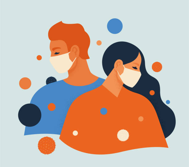 People feel anxiety and fear wearing medical masks to prevent disease, flu, air pollution, contaminated air, world pollution. Vector illustration flat style. vector art illustration
