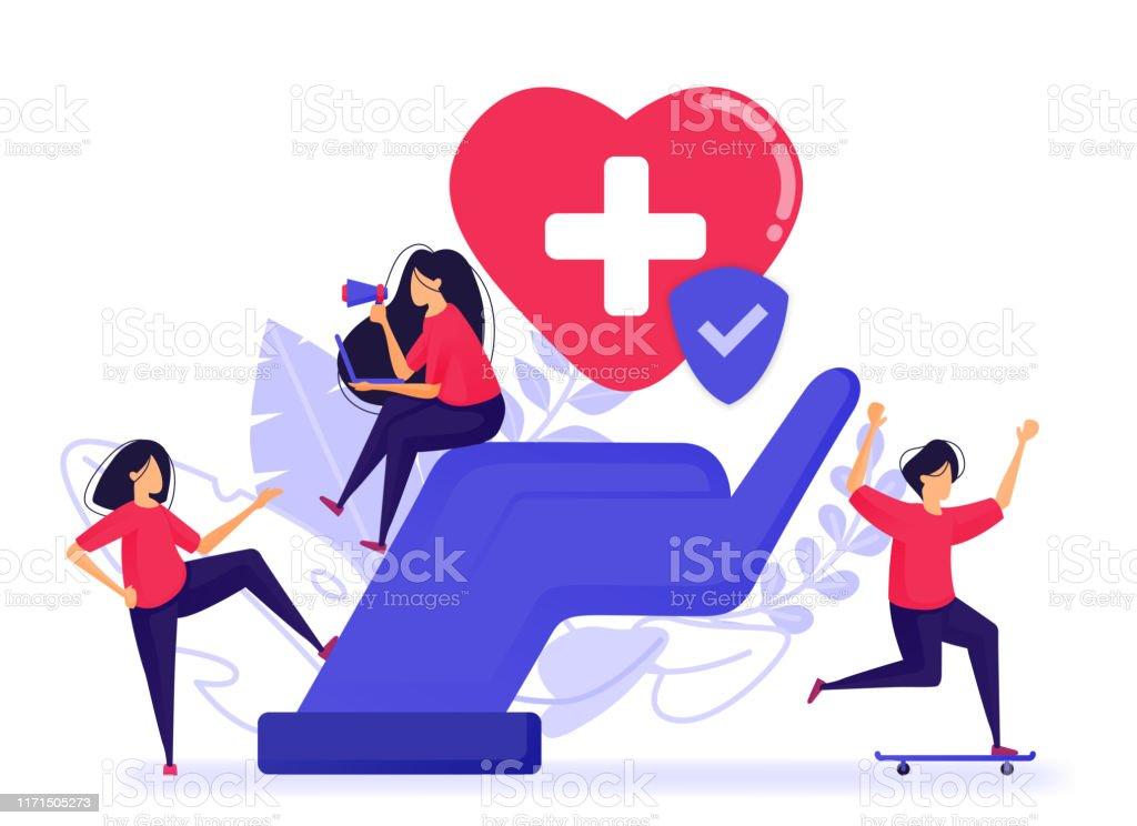 Die Menschen fühlen sich glücklich, weil sie bereits eine Kranken- und Lebensversicherung haben. Registrieren Sie eine gute und Vertrauensversicherung mit besten medizinischen Einrichtungen. Vektor-Illustration für Web, Landing Page, Banner, Mobile Apps - Lizenzfrei Analysieren Vektorgrafik