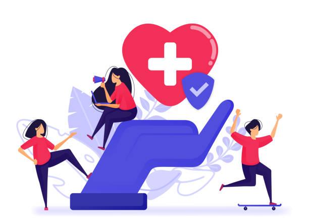 die menschen fühlen sich glücklich, weil sie bereits eine kranken- und lebensversicherung haben. registrieren sie eine gute und vertrauensversicherung mit besten medizinischen einrichtungen. vektor-illustration für web, landing page, banner, mobile apps - trust stock-grafiken, -clipart, -cartoons und -symbole