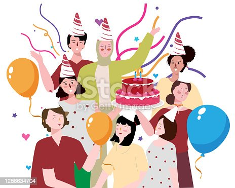 istock people female male party celebration birthday cheerful cake ribbon balloon rousing with flat cartoon style 1286634704