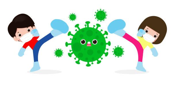 люди борются с коронавирусом (2019-ncov), мультипликационный персонаж мужчина и женщина атакуют covid-19 , дети и защита от вирусов и бактерий, конце - holiday background stock illustrations