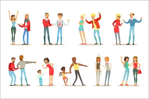 ilustrações de stock, clip art, desenhos animados e ícones de people fighting and quarrelling making a loud public scandal collection of cartoon characters aggressive and violent behavior illustrations - puxar cabelos