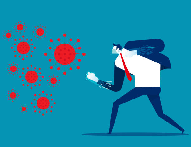 People fighting COVID 19 virus. Implications for business vector art illustration