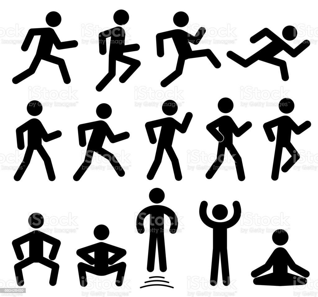 Les chiffres de personnes en mouvement, courir, marcher, sauter icônes vectorielles noirs - Illustration vectorielle
