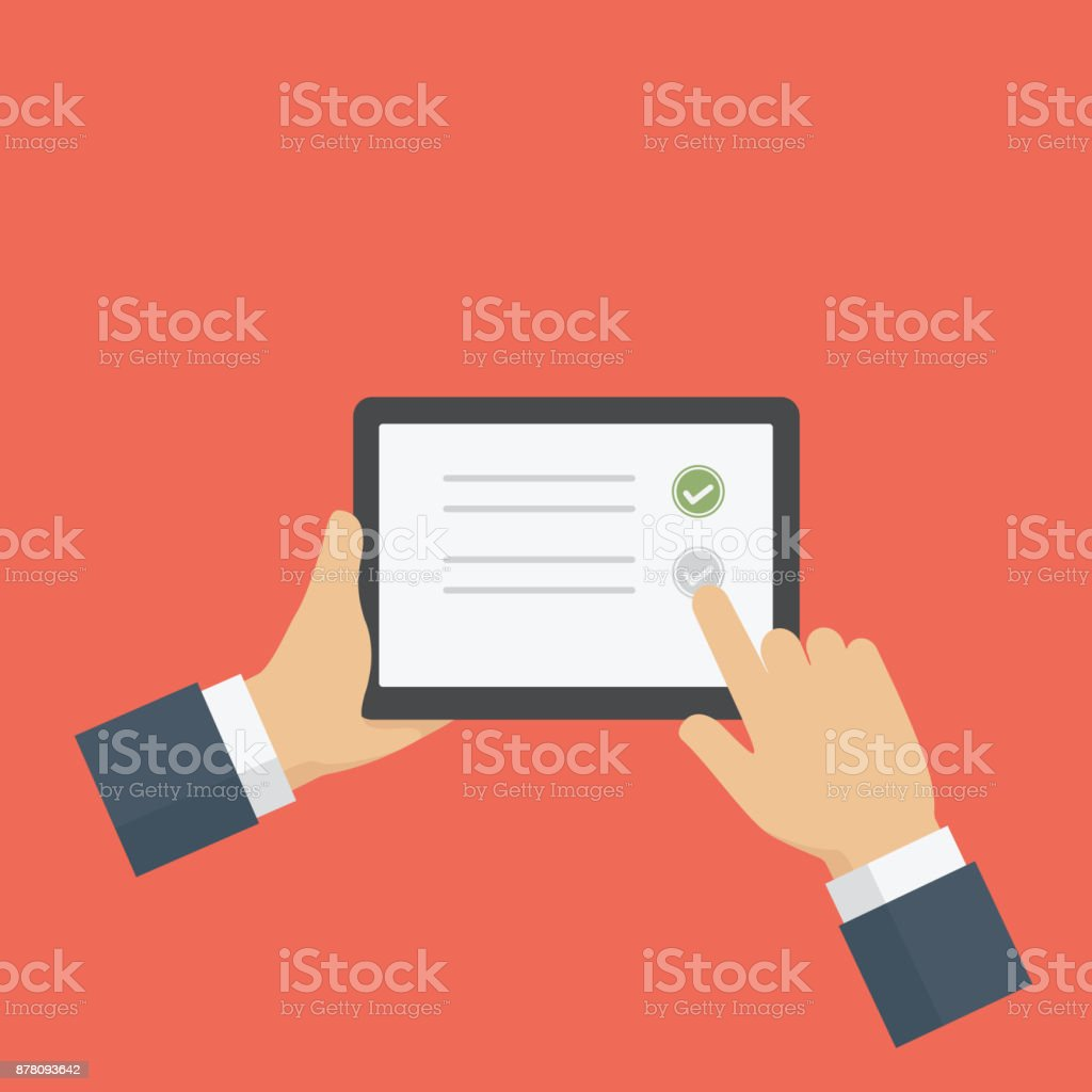 People Filling Online Survey Form On Digital Tablet. Hand holds tablet and finger touch screen. Feedback business concept vector art illustration