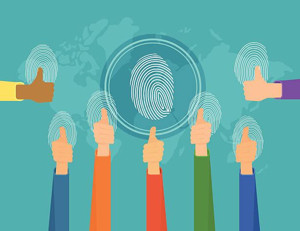 人々の指紋 - id盗難点のイラスト素材/クリップアート素材/マンガ素材/アイコン素材