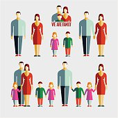 People flat icons. Family flat icons vector set.