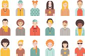 People flat icons vector set (men and women). Simple design. Part one.