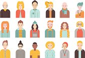 People flat icons vector set (men and women). Simple design. Part two.