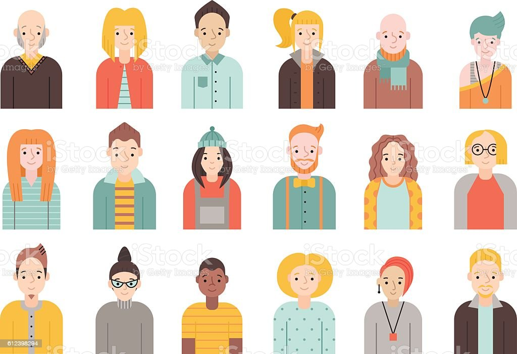 People flat icons vector set (men and women). Part two. vector art illustration