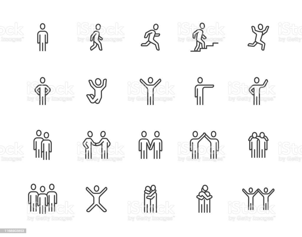 People flat line icons set. Person walking, running, jumping, climbing stairs, happy man, company leader, friends hugs vector illustrations. Human outline signs. Pixel perfect 64x64. Editable Strokes - Royalty-free A caminho arte vetorial