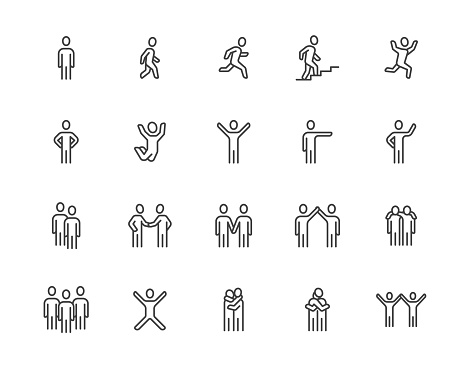People flat line icons set. Person walking, running, jumping, climbing stairs, happy man, company leader, friends hugs vector illustrations. Human outline signs. Pixel perfect 64x64. Editable Strokes clipart