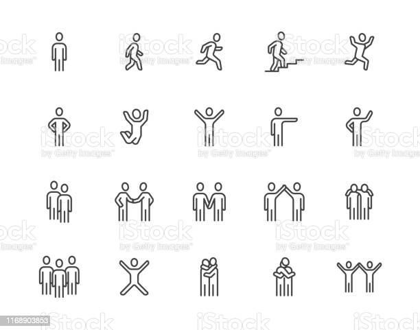 People Flat Line Icons Set Person Walking Running Jumping Climbing Stairs Happy Man Company Leader Friends Hugs Vector Illustrations Human Outline Signs Pixel Perfect 64x64 Editable Strokes - Arte vetorial de stock e mais imagens de A caminho