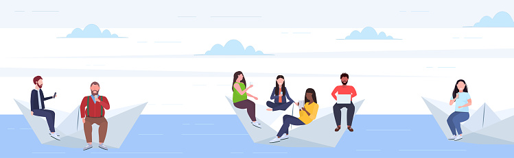 people floating on paper boat mix race men women using gadgets traveling together digital addiction web surfing concept horizontal flat full length