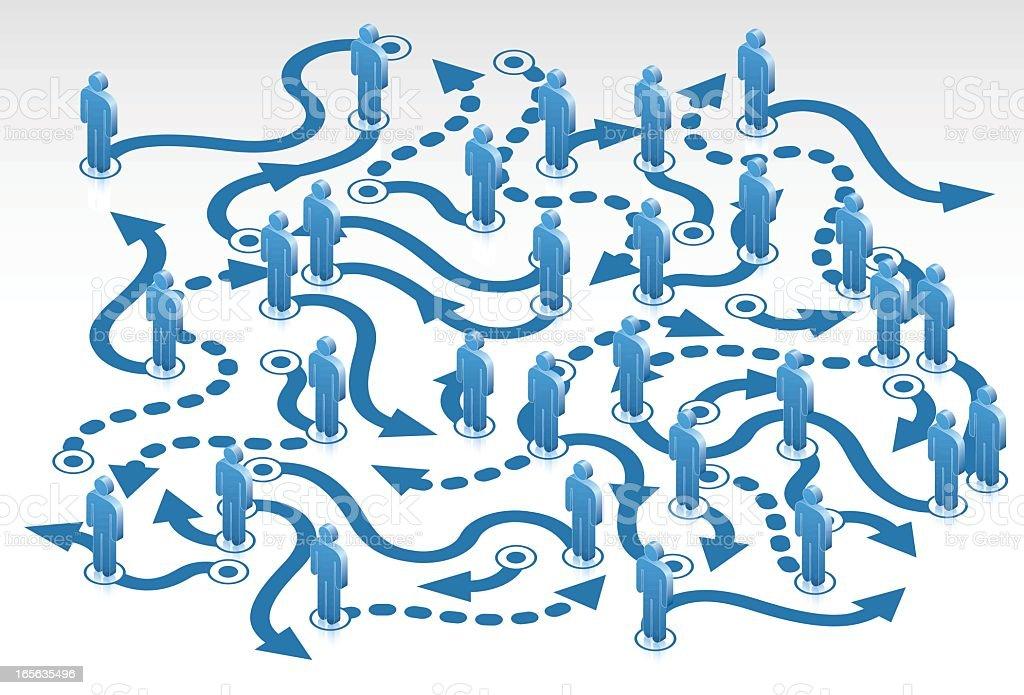 People Flow Chart vector art illustration