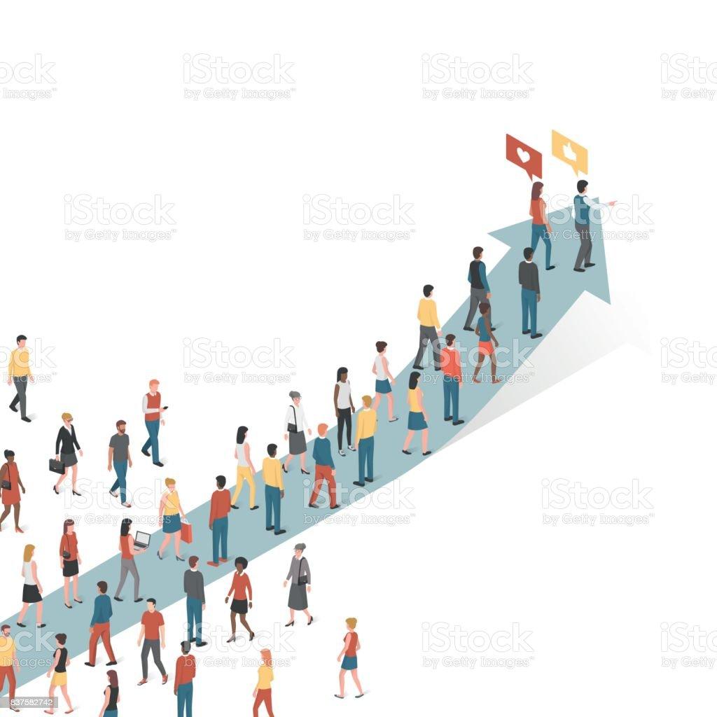 People following an arrow vector art illustration