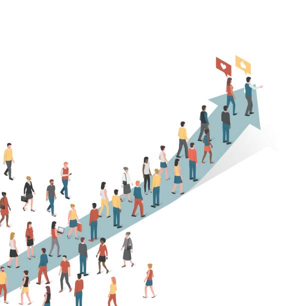 People following an arrow Group of people following an arrow, marketing and leadership concept persuasion stock illustrations