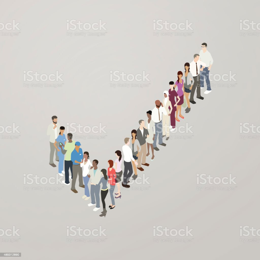 People forming checkmark vector art illustration
