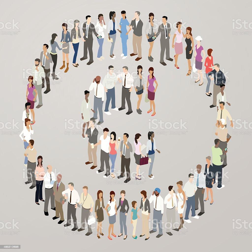 People forming copyright symbol vector art illustration