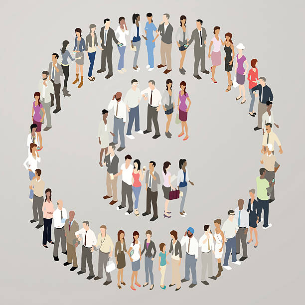 people forming copyright symbol - mathisworks people icons stock illustrations, clip art, cartoons, & icons