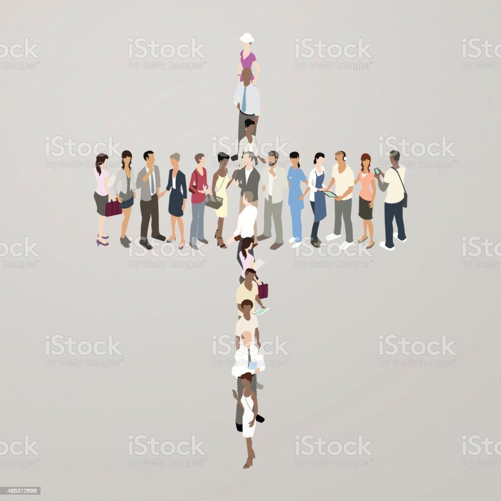 People forming cross vector art illustration