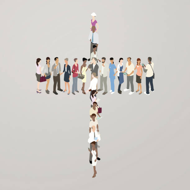 people forming cross - mathisworks people icons stock illustrations, clip art, cartoons, & icons