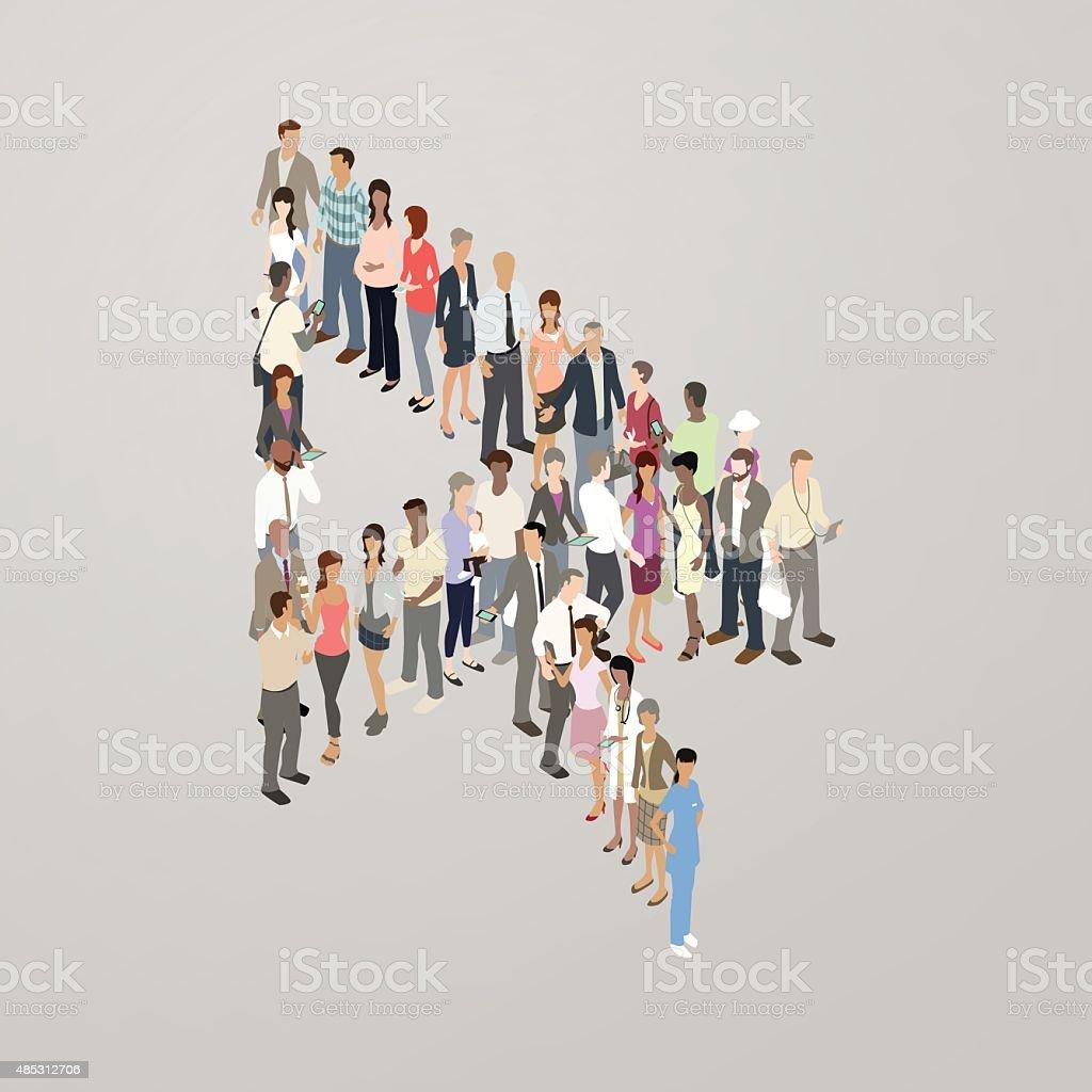 People forming cursor arrow vector art illustration