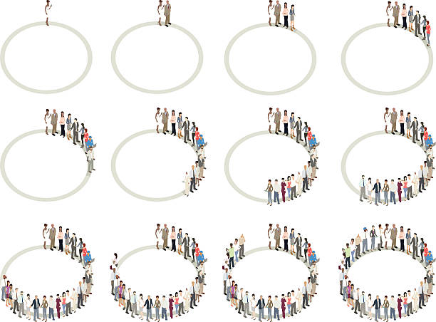 People forming donut or pie charts vector art illustration
