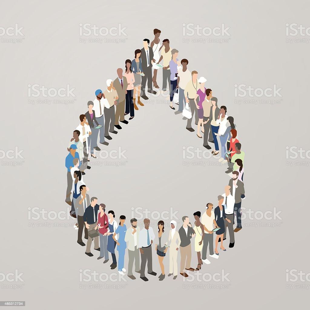 People forming droplet shape vector art illustration