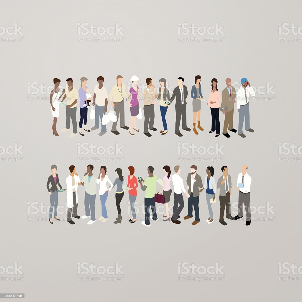 People forming equals sign vector art illustration