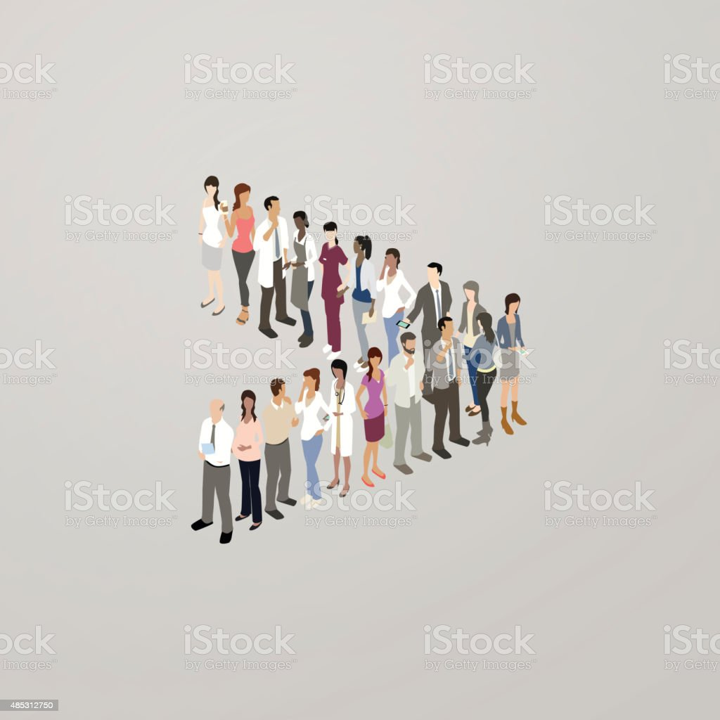 People forming greater than sign vector art illustration
