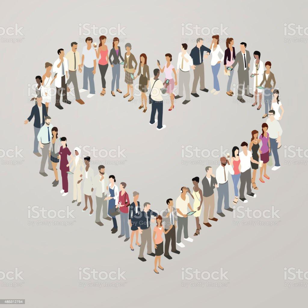 People forming heart shape vector art illustration