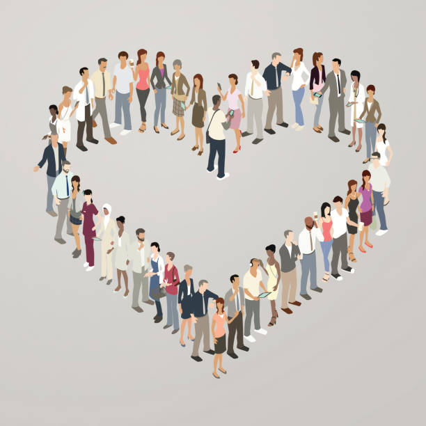 people forming heart shape - mathisworks people icons stock illustrations, clip art, cartoons, & icons