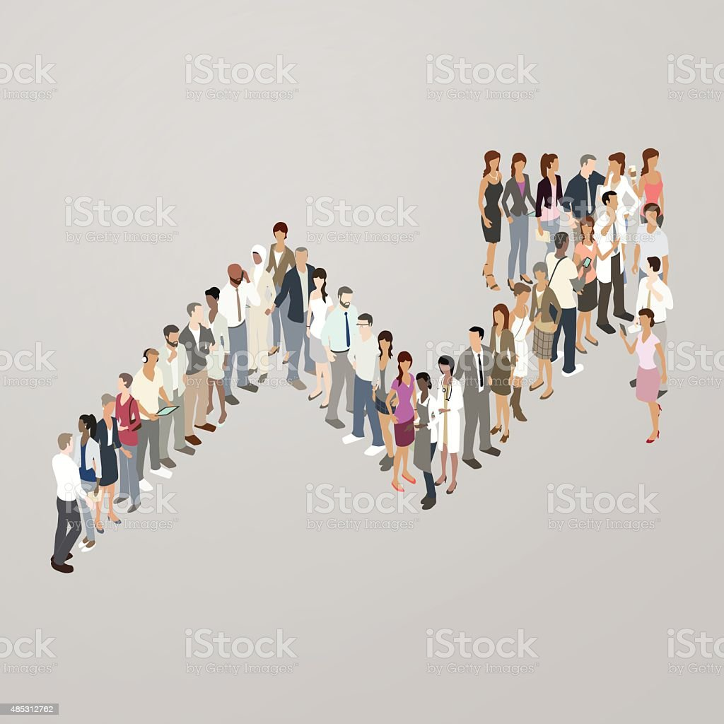 People forming increase arrow vector art illustration