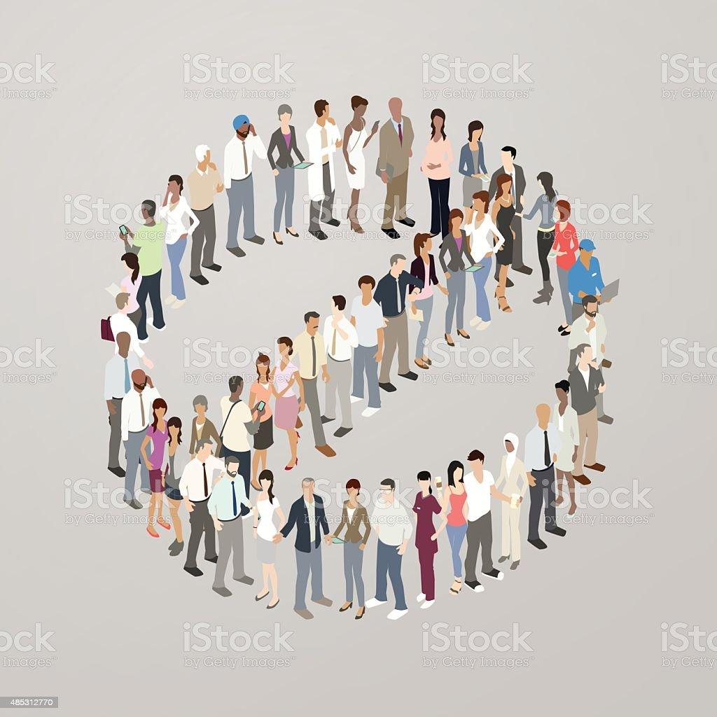 People forming NO symbol vector art illustration