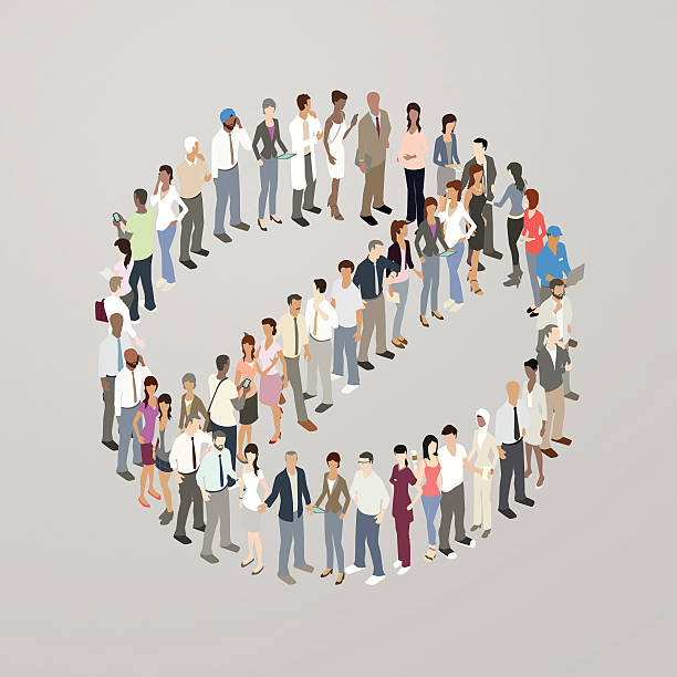 people forming no symbol - mathisworks people icons stock illustrations, clip art, cartoons, & icons