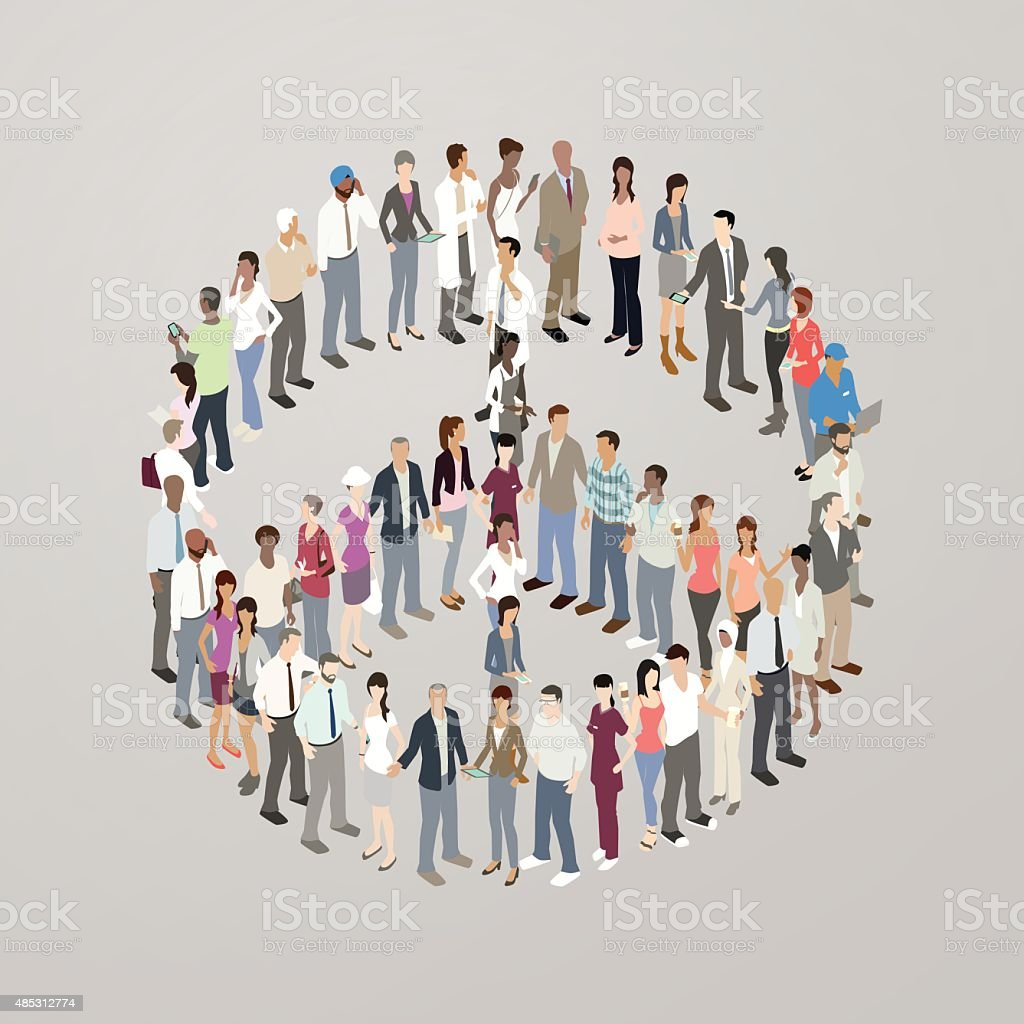 People forming peace symbol vector art illustration