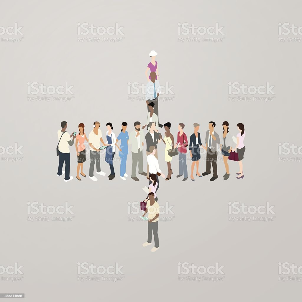 People forming plus sign vector art illustration