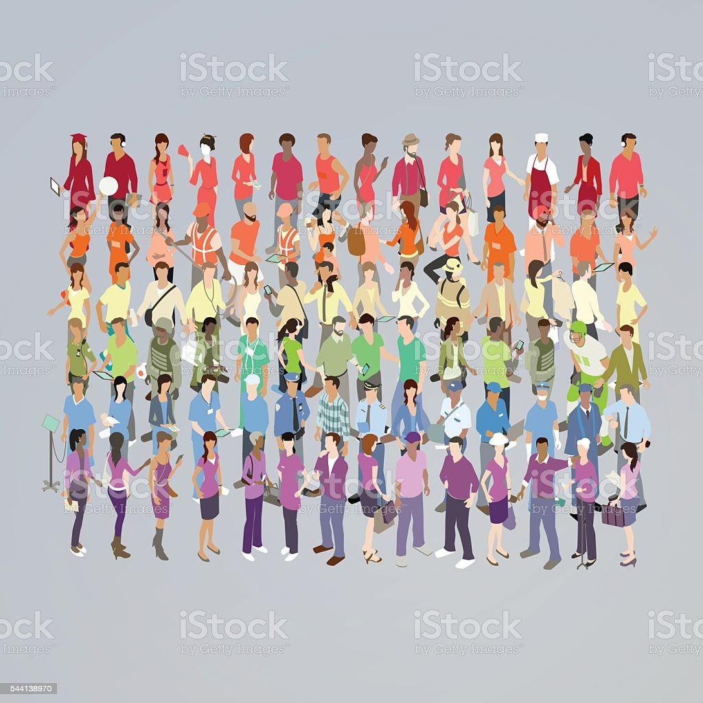 People Forming Rainbow Illustration vector art illustration